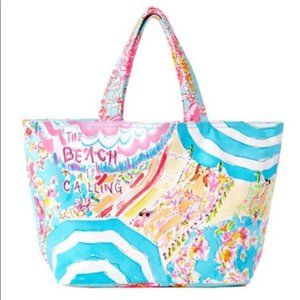 Lilly Pulitzer Canvas Beach Tote  Beach is Calling